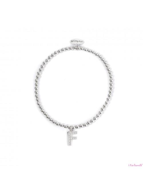 Bracciale Argento Lettera F con sfere da 3 mm