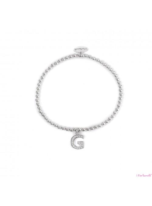 Bracciale Argento Lettera G con sfere da 3 mm