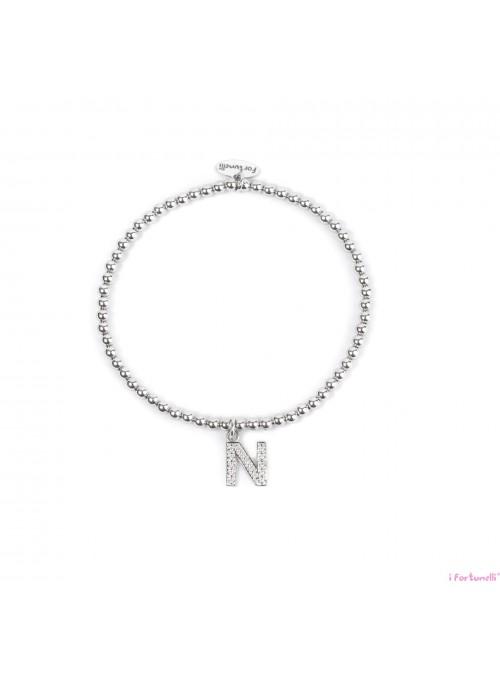 Bracciale Argento Lettera N con sfere da 3 mm