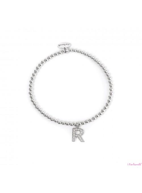 Bracciale Argento Lettera R con sfere da 3 mm