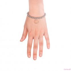 Bracciale Argento Madonna in bagno oro rosa  con sfere da 6 mm