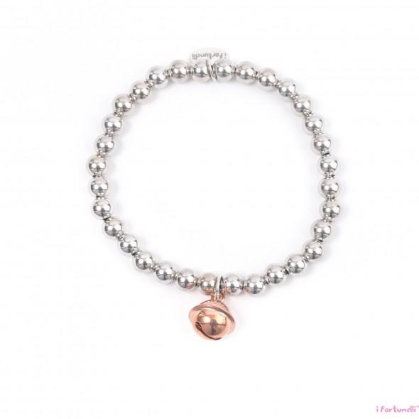 7e7d92a182 Bracciale Argento Sonaglio in bagno oro rosa con sfere da 6 mm - I ...