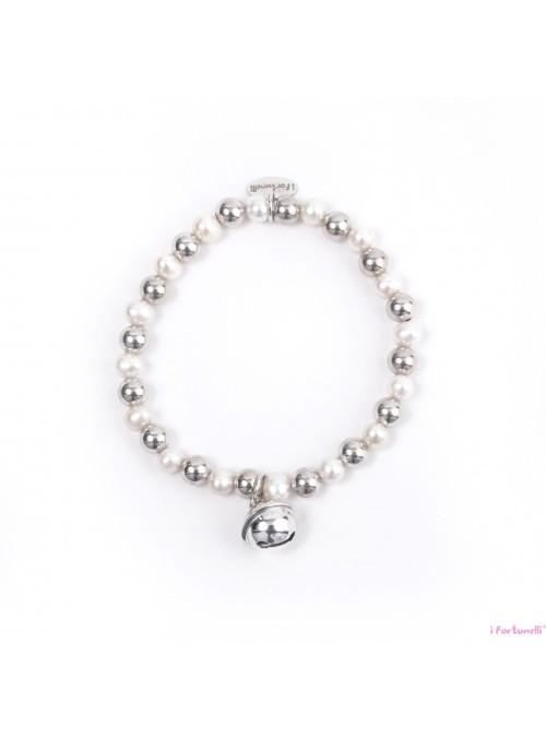 Bracciale Argento e Perle Sonaglio con sfere da 6 mm