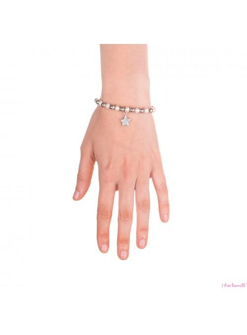Bracciale Argento e Perle Stella con sfere da 6 mm