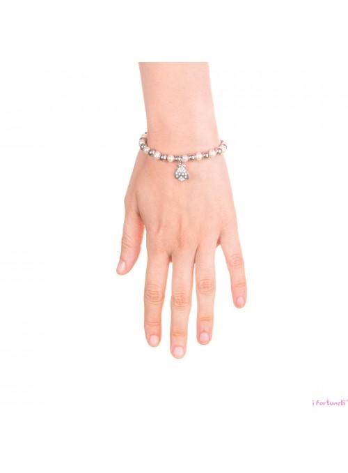 Bracciale Argento e Perle Coccinella con sfere da 6 mm