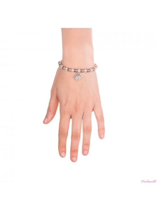 Bracciale Argento e Perle Corona con sfere da 6 mm