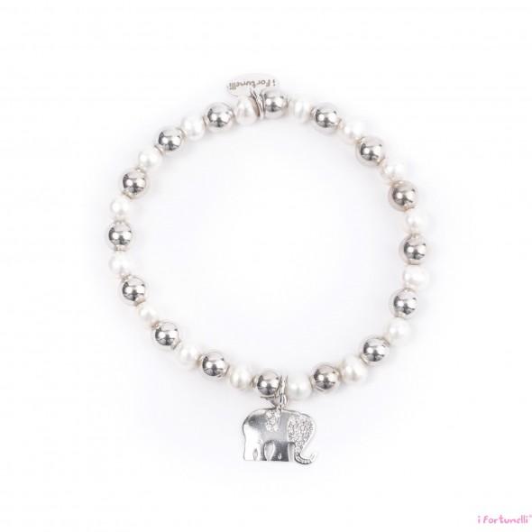 Bracciale Argento e Perle Elefante con sfere da 6 mm