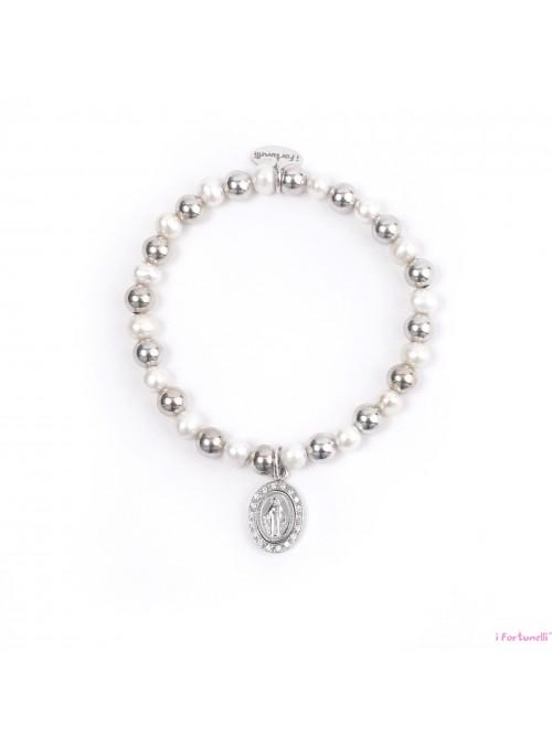 Bracciale Argento e Perle Madonna con sfere da 6 mm