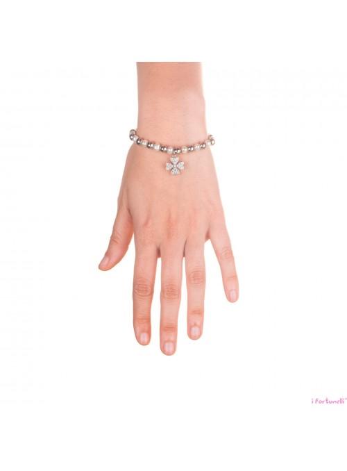 Bracciale Argento e Perle Quadrifoglio con sfere da 6 mm