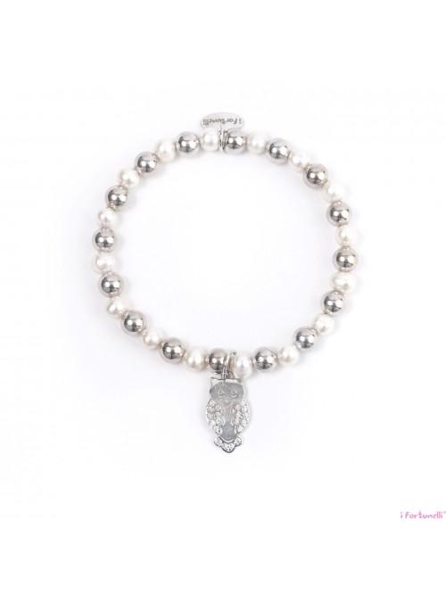 Bracciale Argento e Perle Gufo con sfere da 6 mm