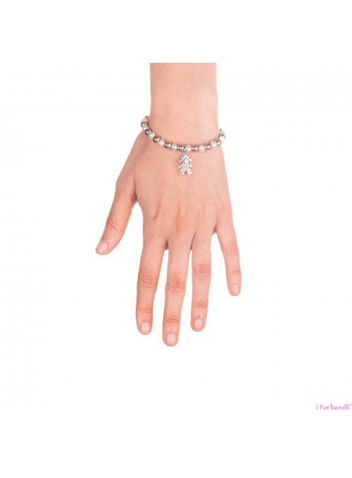 Bracciale Argento e Perle Bambino con sfere da 6 mm