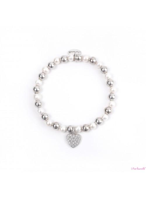 Bracciale Argento e Perle Cuore con sfere da 6 mm