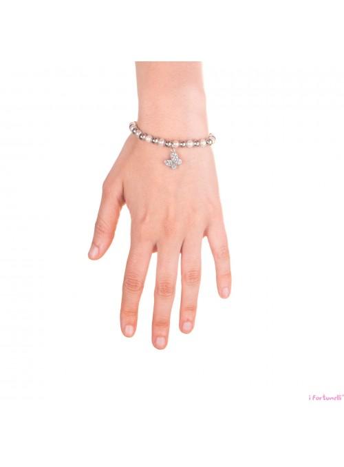 Bracciale Argento e Perle Farfalla con sfere da 6 mm