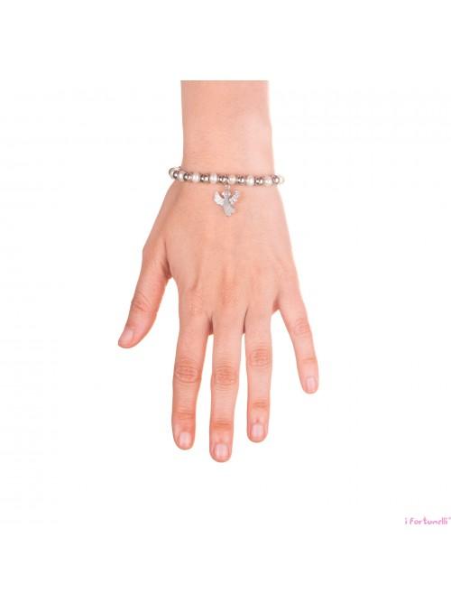 Bracciale Argento e Perle Angelo con sfere da 6 mm