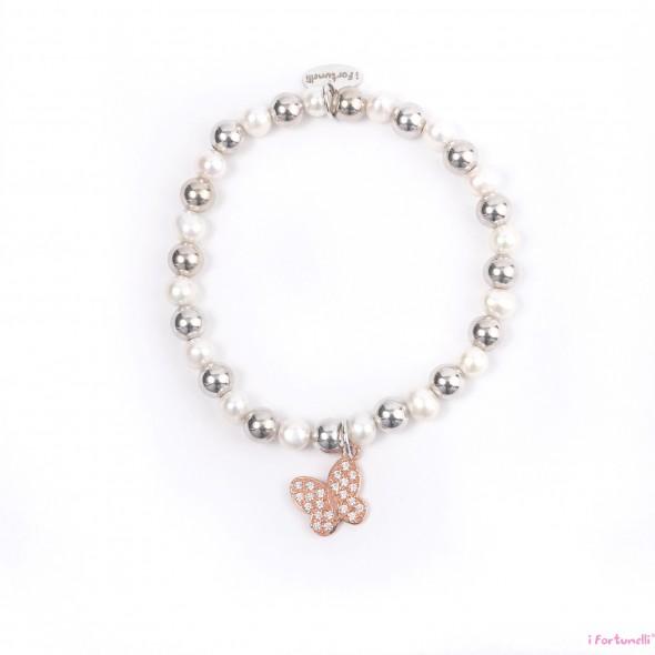 Bracciale argento e perle farfalla in bagno oro rosa con - Perle da bagno sephora ...