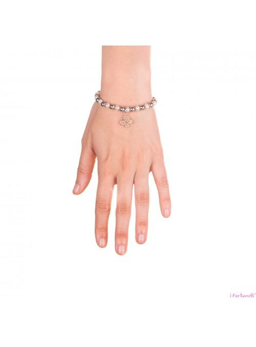 Bracciale Argento e Perle Farfalla in bagno oro rosa con sfere da 6 mm