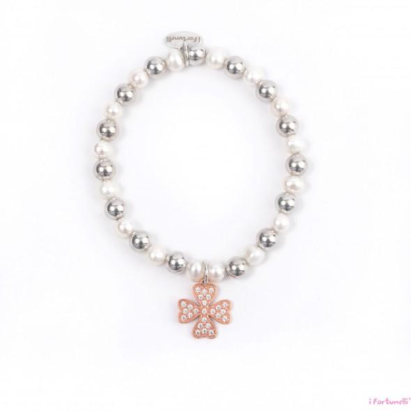 Bracciale argento e perle quadrifoglio in bagno oro rosa - Perle da bagno sephora ...