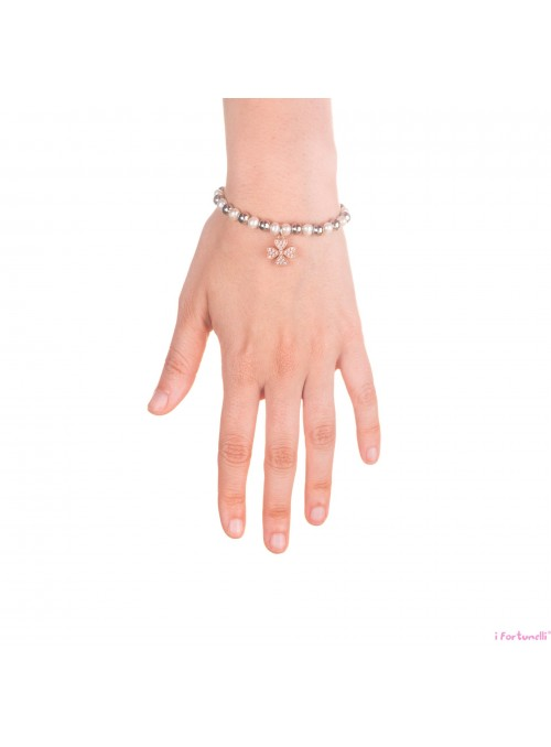 Bracciale Argento e Perle Quadrifoglio in bagno oro rosa con sfere da 6 mm