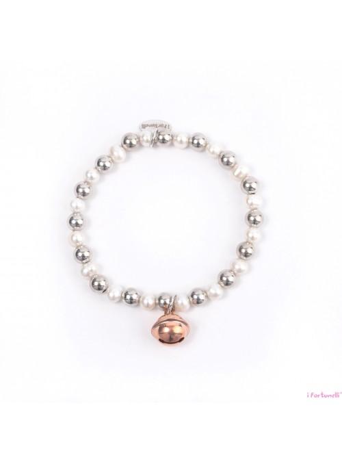Bracciale Argento e Perle Sonaglio in bagno oro rosa con sfere da 6 mm
