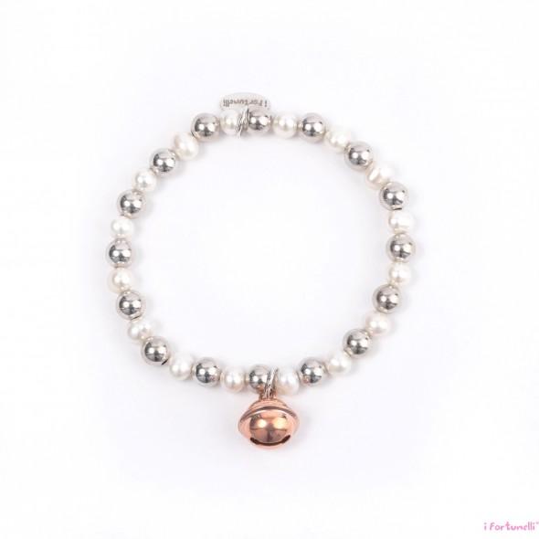 Bracciale argento e perle sonaglio in bagno oro rosa con - Perle da bagno sephora ...