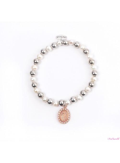 Bracciale Argento e Perle Madonna in bagno oro rosa con sfere da 6 mm
