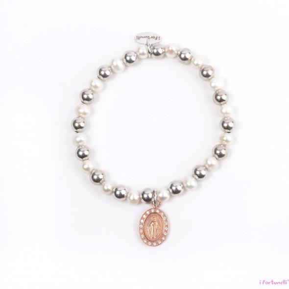 Bracciale argento e perle madonna in bagno oro rosa con - Perle da bagno sephora ...