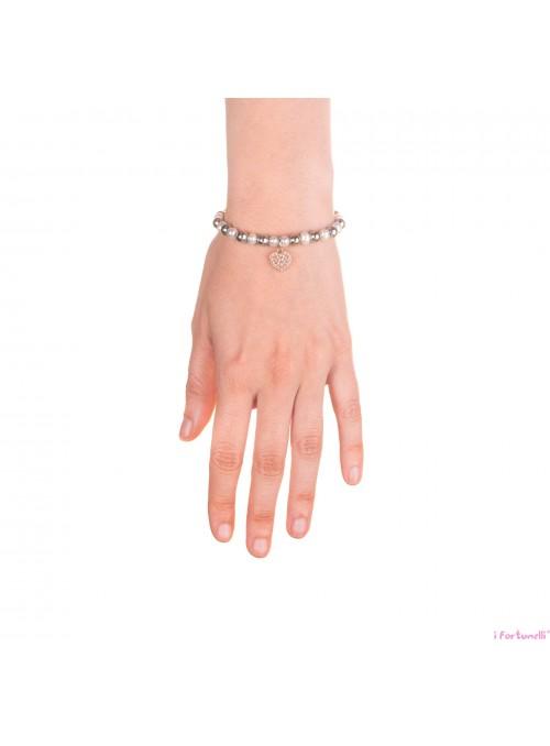 Bracciale Argento e Perle Cuore in bagno oro rosa con sfere da 6 mm