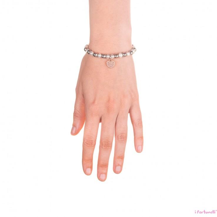 Bracciale argento e perle cuore in bagno oro rosa con - Perle da bagno sephora ...
