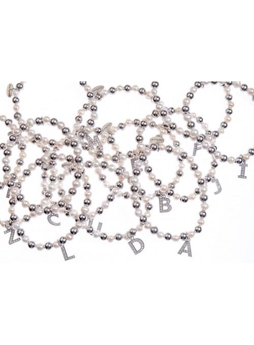 Bracciale argento e perle lettera T con sfere da 6 mm