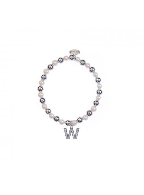Bracciale argento e perle lettera W con sfere da 6 mm