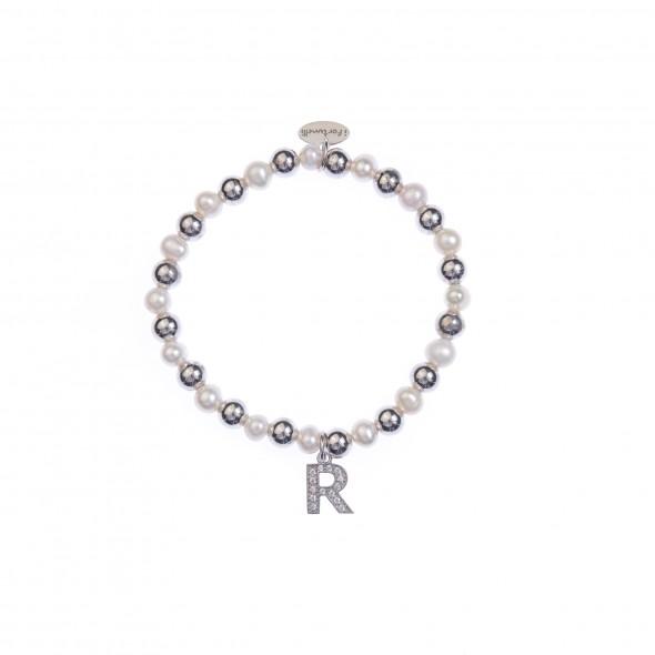 Bracciale argento e perle lettera R con sfere da 6 mm