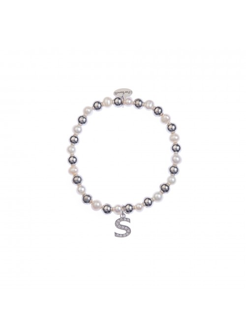 Bracciale argento e perle lettera S con sfere da 6 mm