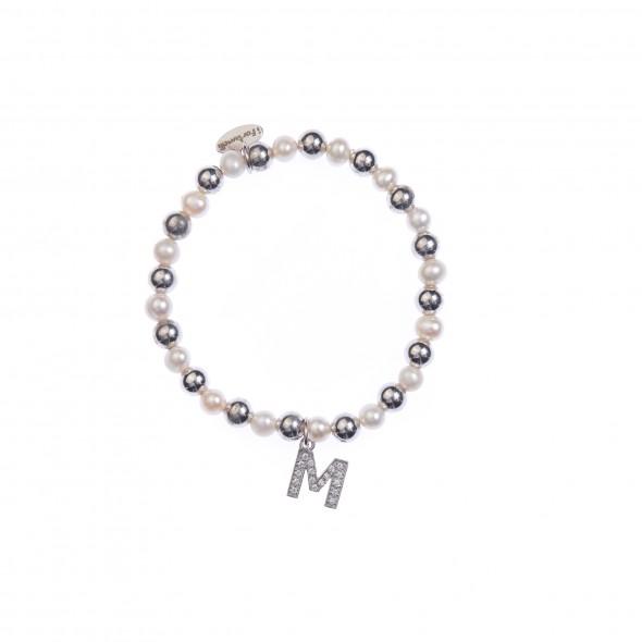 Bracciale argento e perle lettera M con sfere da 6 mm