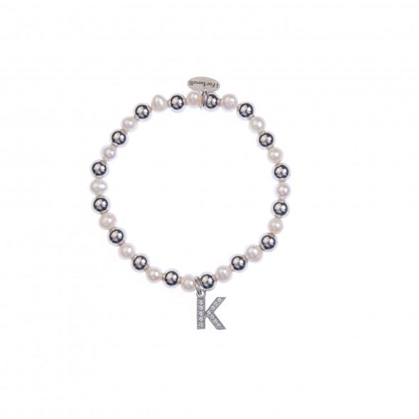 Bracciale argento e perle lettera K con sfere da 6 mm