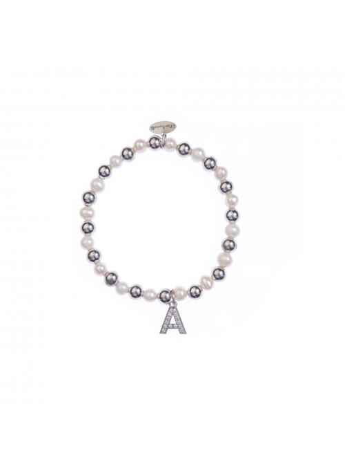 Bracciale Argento e Perle Lettera A con sfere da 6 mm
