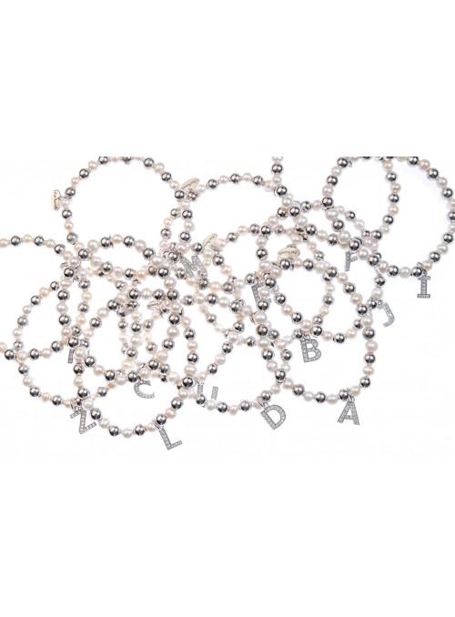 Bracciale argento e perle lettera D con sfere da 6 mm