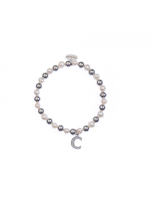 Bracciale argento e perle lettera C con sfere da 6 mm