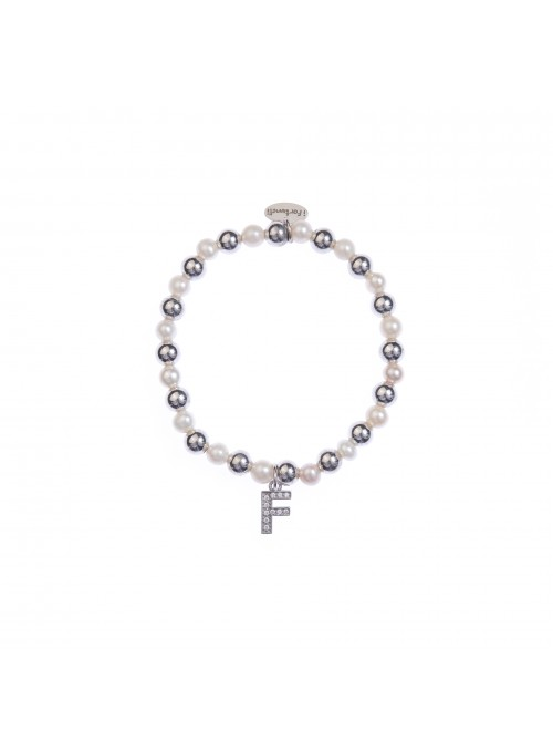 Bracciale argento e perle lettera F con sfere da 6 mm