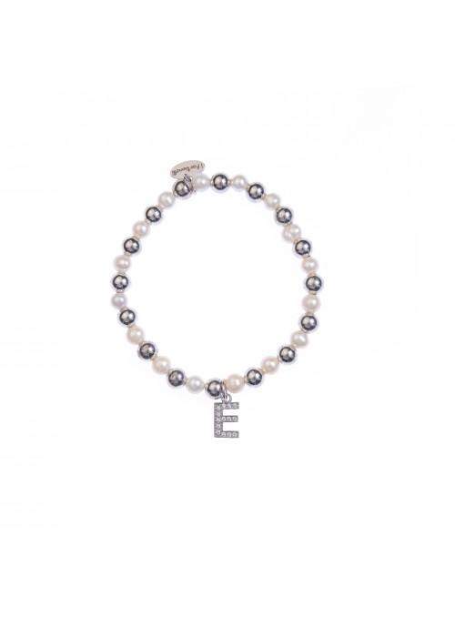 Bracciale Argento e Perle Lettera E con sfere da 6 mm