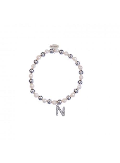 Bracciale Argento e Perle Lettera N con sfere da 6 mm