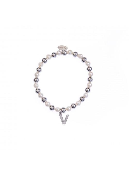 Bracciale Argento e Perle Lettera V con sfere da 6 mm