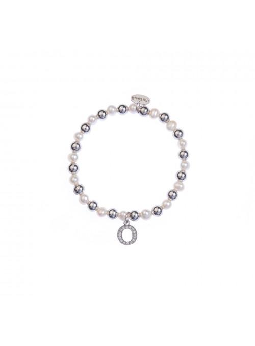 Bracciale Argento e Perle Lettera O con sfere da 6 mm