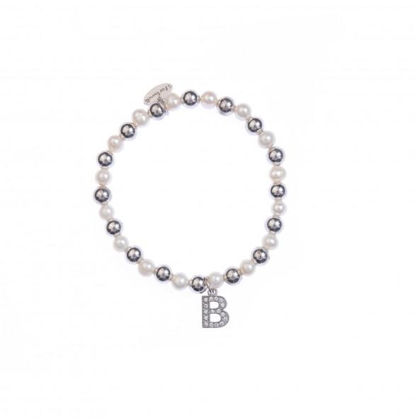 Bracciale argento e perle lettera B con sfere da 6 mm