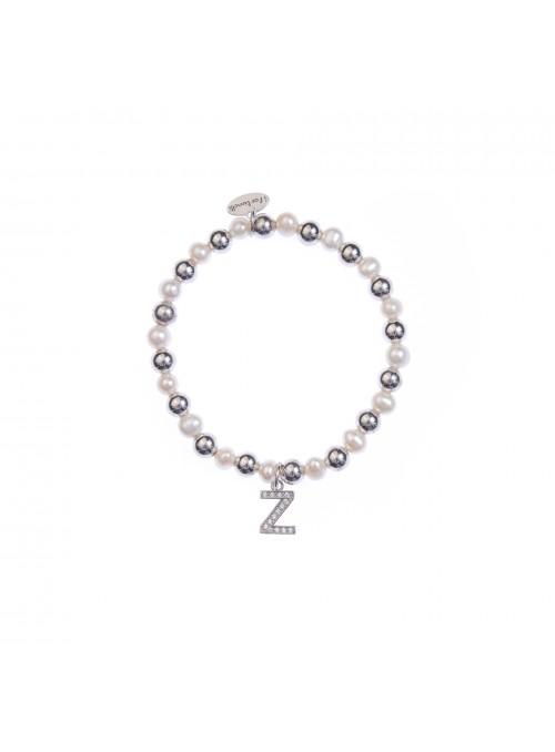 Bracciale Argento e Perle Lettera Z con sfere da 6 mm