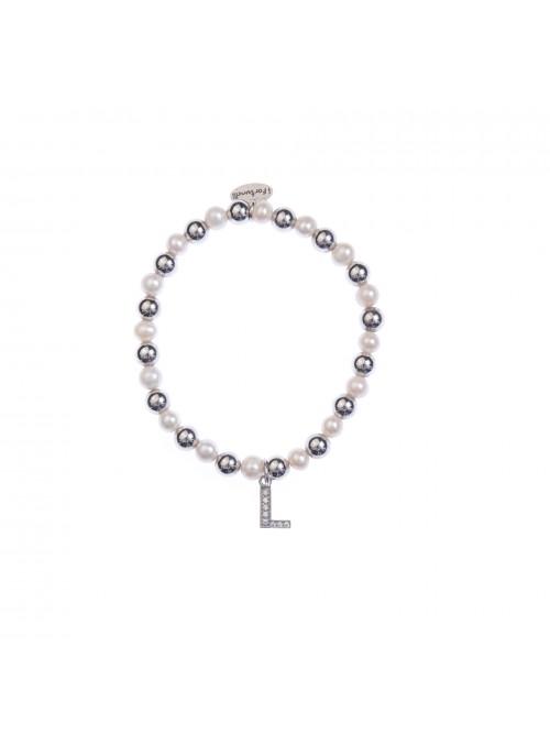 Bracciale argento e perle lettera L con sfere da 6 mm