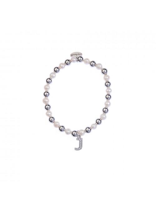 Bracciale argento e perle lettera J con sfere da 6 mm