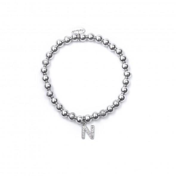 Bracciale Argento Lettera N con sfere da 5 mm