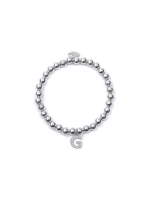 Bracciale Argento Lettera G con sfere da 5 mm