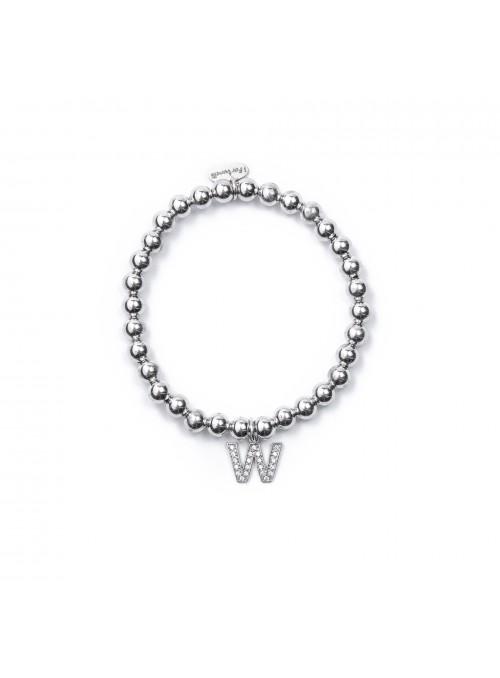 Bracciale Argento Lettera W con sfere da 5 mm