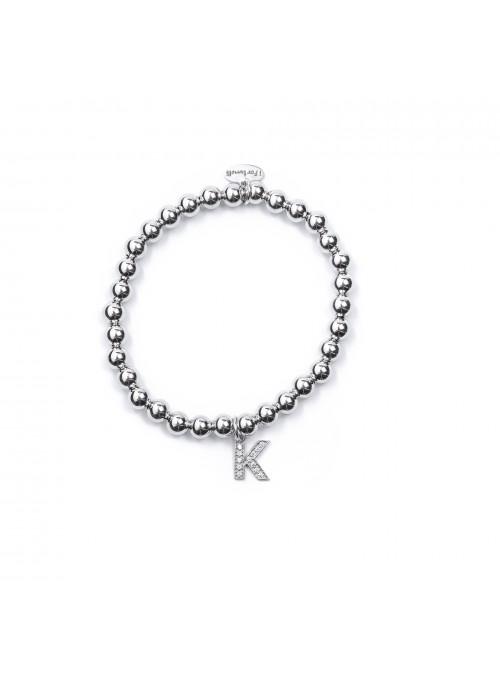 Bracciale Argento Lettera K con sfere da 5 mm